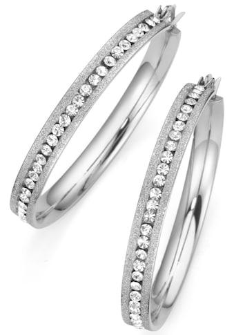 Firetti Paar Creolen »mittig angeordnete Steine«, mit Kristallsteinen kaufen