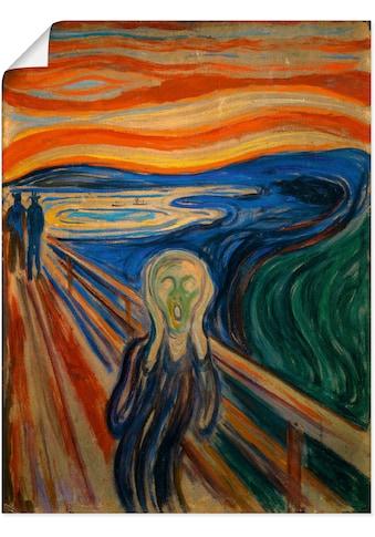 Artland Wandbild »Der Schrei. 1893«, Mann, (1 St.), in vielen Grössen & Produktarten - Alubild / Outdoorbild für den Aussenbereich, Leinwandbild, Poster, Wandaufkleber / Wandtattoo auch für Badezimmer geeignet kaufen