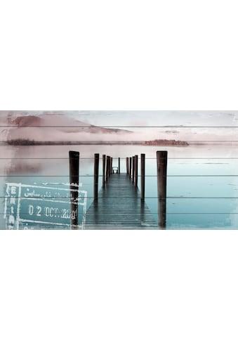 QUEENCE Holzbild »Steg am Wasser«, 40x80 cm Echtholz kaufen