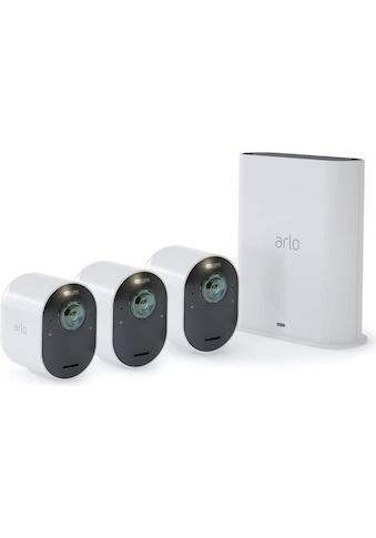 ARLO Überwachungskamera »Überwachungsset Ultra 4K VMS5340-100EUS Set mit 3 Kameras«, Aussenbereich-Innenbereich, (Lieferumfang: 3x Arlo Ultra Kamera, 1x SmartHub, 3x Wiederaufladbarer Akku, 1x Netzteil, 1x Magnetisches Ladekabel, 1x Ethernet-Kabel, 3x Wandhalterung und Schraubensatz, 1x Schnellstartanleitung, 1x Aufkleber zur Videoüberwachung, 1x Arlo Smart 1-Jahres-Abonnementplan) kaufen