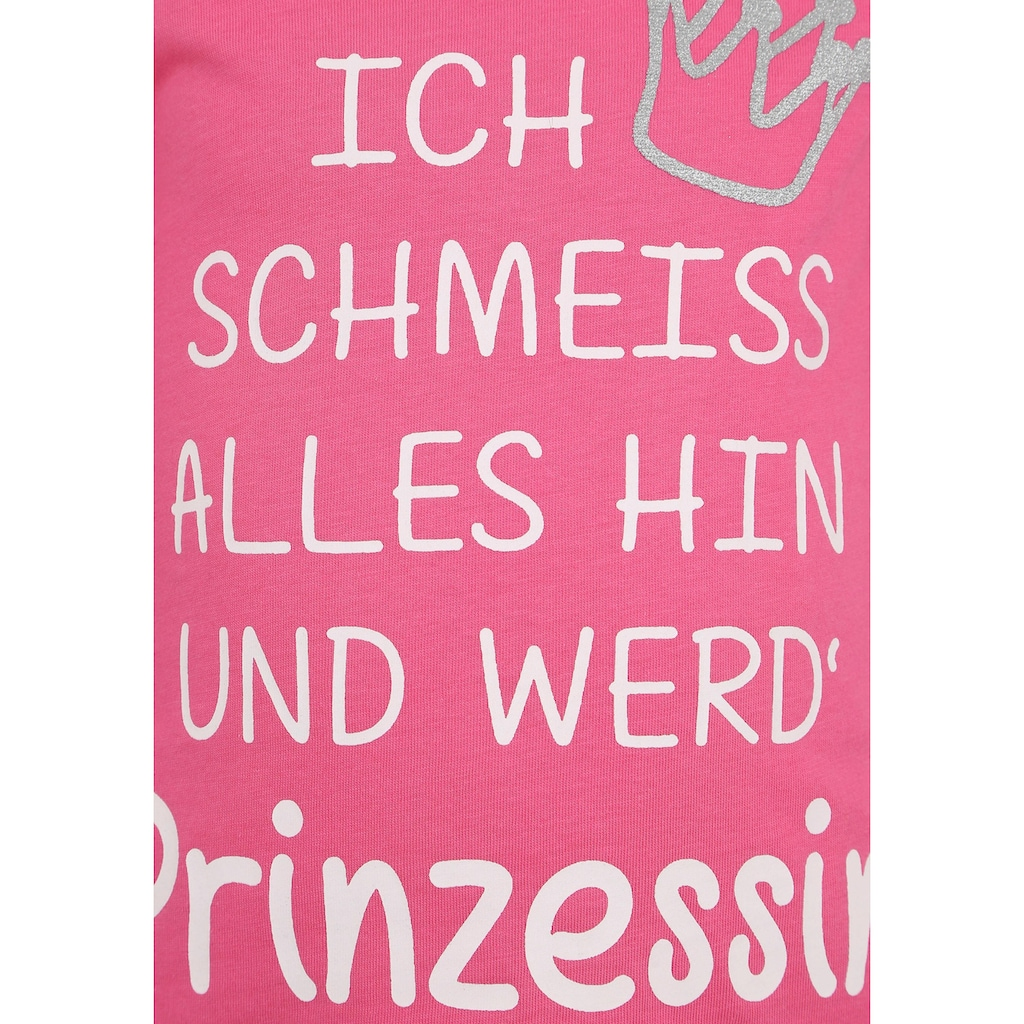 KIDSWORLD Langarmshirt »Prinzessin«, mit Glitzerdruck