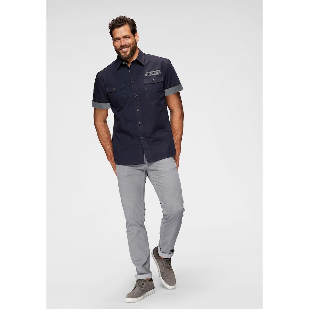 Man's World Kurzarmhemd, mit kontrastfarbener Stickerei