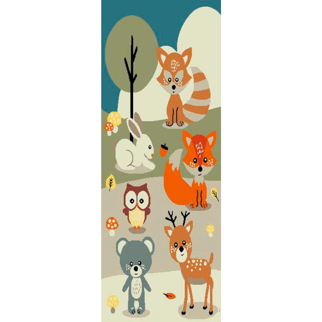 Lüttenhütt Kinderteppich »Wald«, rechteckig, 13 mm Höhe, Pastellfarben, handgearbeiteter Konturenschnitt