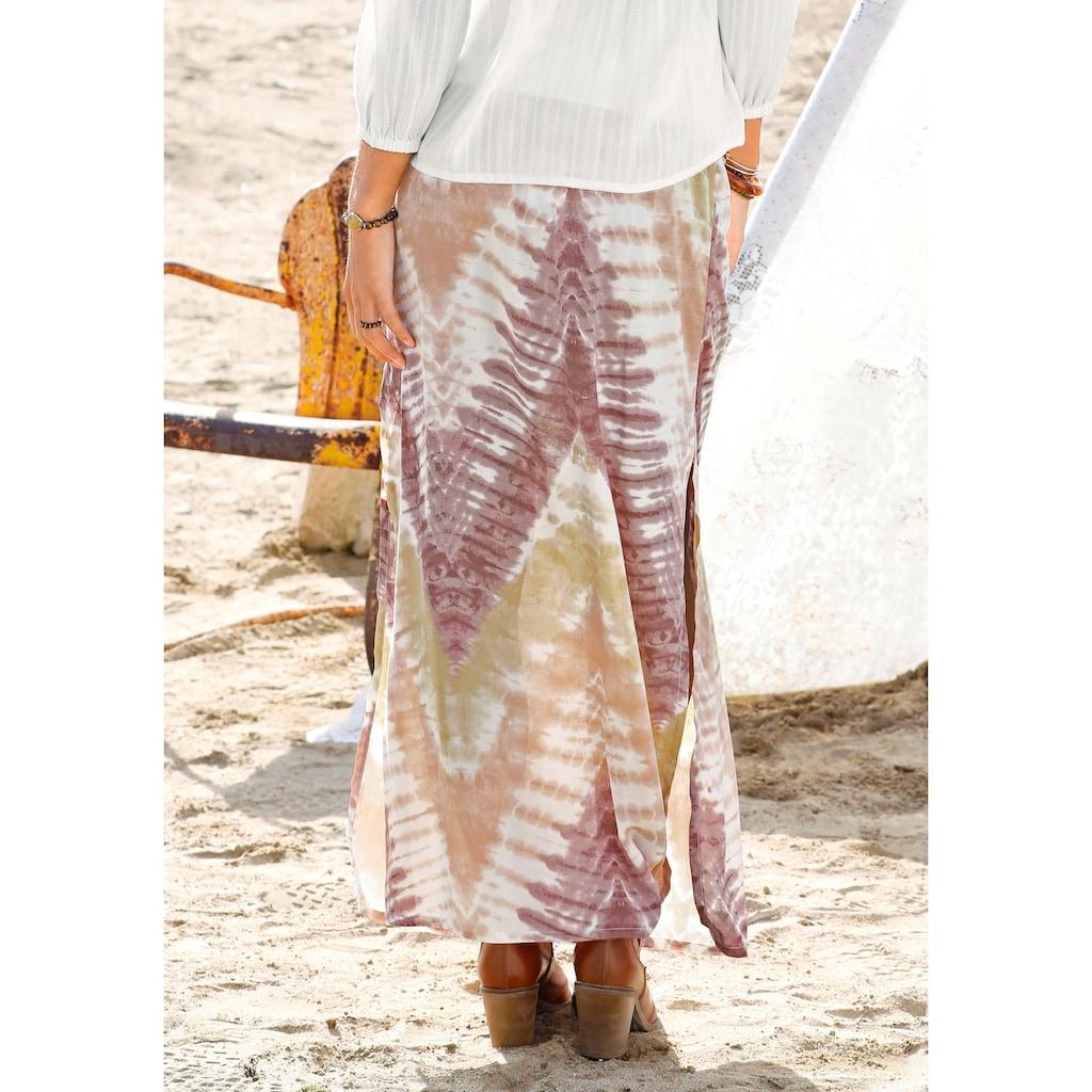 LASCANA Maxirock, mit Batikprint