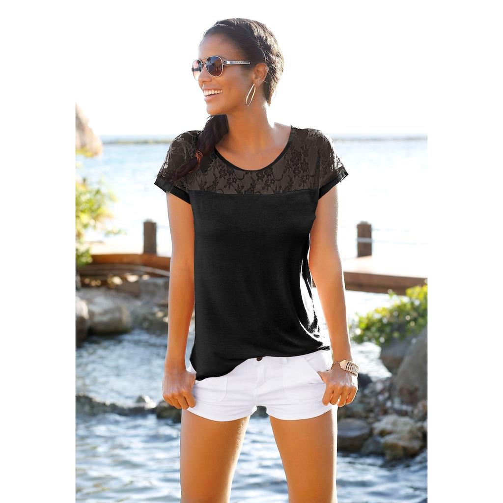 LASCANA Strandshirt, mit Spitzeneinsatz