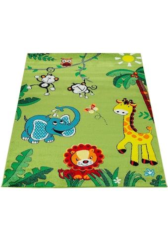 Paco Home Kinderteppich »ECE 958«, rechteckig, 14 mm Höhe, Kurzflor mit süssem Zoo Tiere Design kaufen