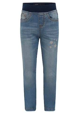 Arizona Schlupfjeans, mit Rippenbund und reflektierendem Sternendruck kaufen