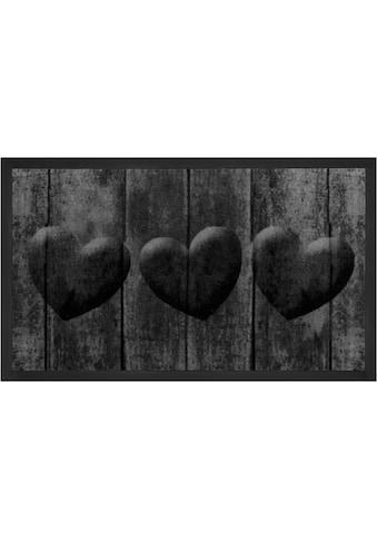 HANSE Home Fussmatte »3 Hearts«, rechteckig, 5 mm Höhe, Fussabstreifer, Fussabtreter,... kaufen