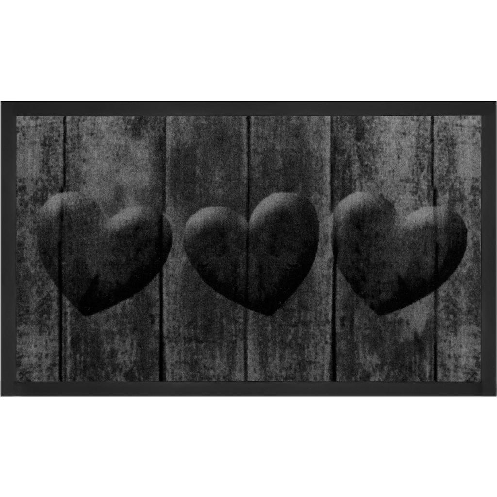 HANSE Home Fussmatte »3 Hearts«, rechteckig, 5 mm Höhe, Fussabstreifer, Fussabtreter, Schmutzfangläufer, Schmutzfangmatte, Schmutzfangteppich, Schmutzmatte, Türmatte, Türvorleger, In- und Outdoor geeignet, waschbar