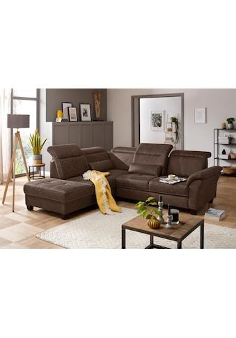 Premium collection by Home affaire Ecksofa »Solvei«, mit Ottomanenabschluss und Sitztiefenverstellung; wahlweise auch mit Kopfteilverstellung und Bettfunktion, Federkern kaufen