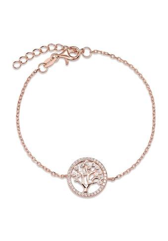 Armband Silberfarben Zirkonia rosé vergoldfarbenet Lebensbaum 16 - 19 cm verstellbar Ø14 mm kaufen