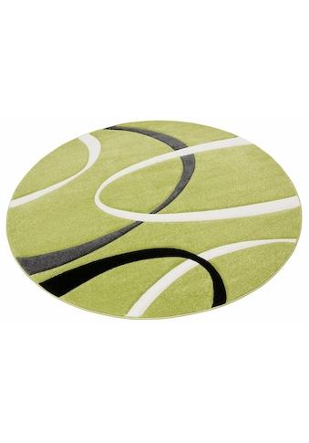 my home Teppich »Bilbao«, rund, 13 mm Höhe, mit handgearbeitetem Konturenschnitt, Wohnzimmer kaufen