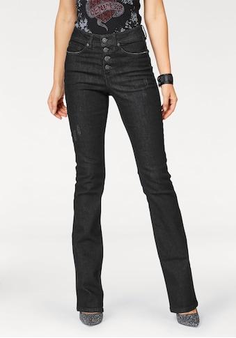 Arizona Bootcut-Jeans »mit sichtbarer Knopfleiste«, High Waist kaufen