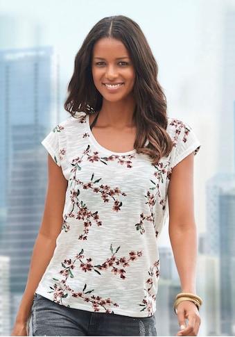 LASCANA T-Shirt, mit floralem Allover-Druck kaufen