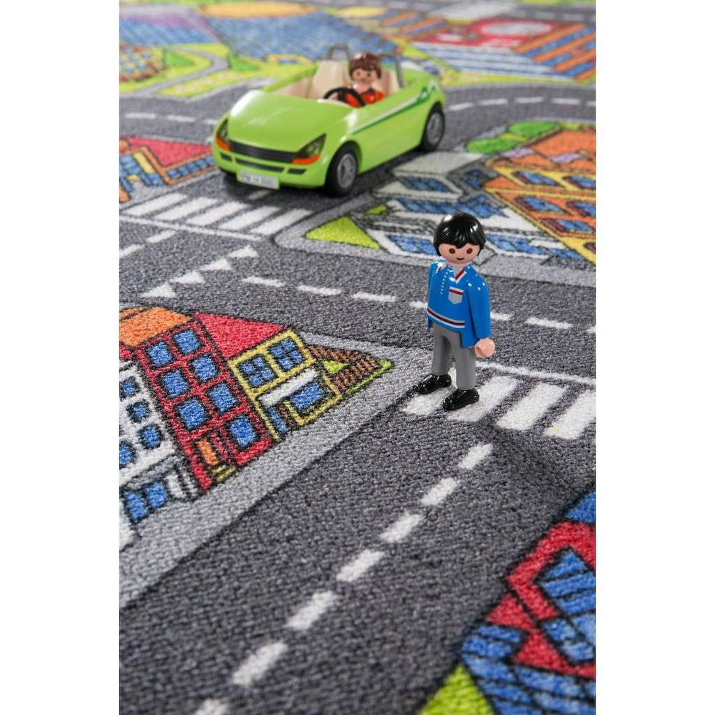 Andiamo Kinderteppich »Big City«, rechteckig, 7 mm Höhe, Strassen-Spielteppich, Strassenbreite: 8,5 cm