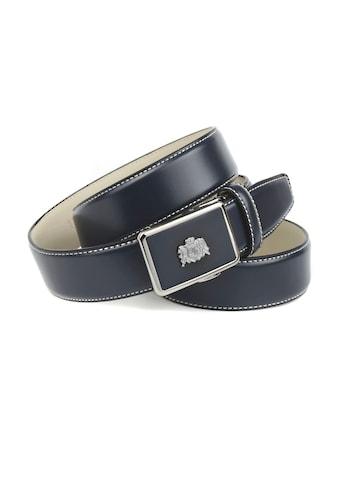Anthoni Crown Ledergürtel, in dunkelblau mit Kontrast Stitching in weiss kaufen