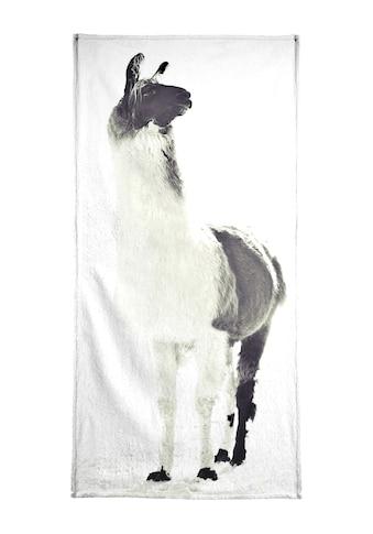 Juniqe Handtuch »Fluffy Lama«, (1 St.), Weiche Frottee-Veloursqualität kaufen