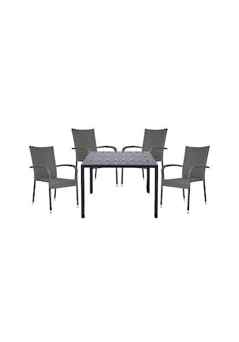 HOMEXPERTS Gartenmöbelset »Malta«, 5 - tlg., 4 Stühle, Tisch 90x90 cm, Alu/Polyrattan kaufen