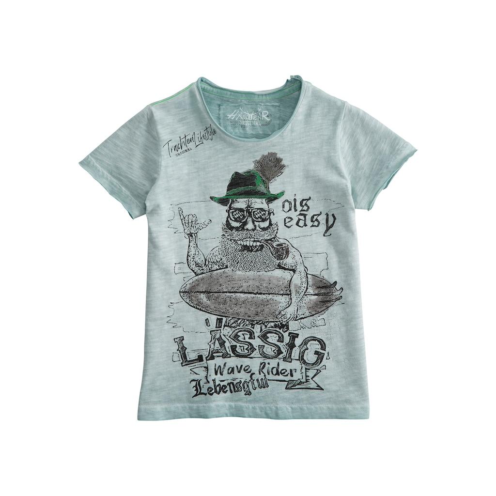 Hangowear Trachtenshirt, mit offenen Kanten