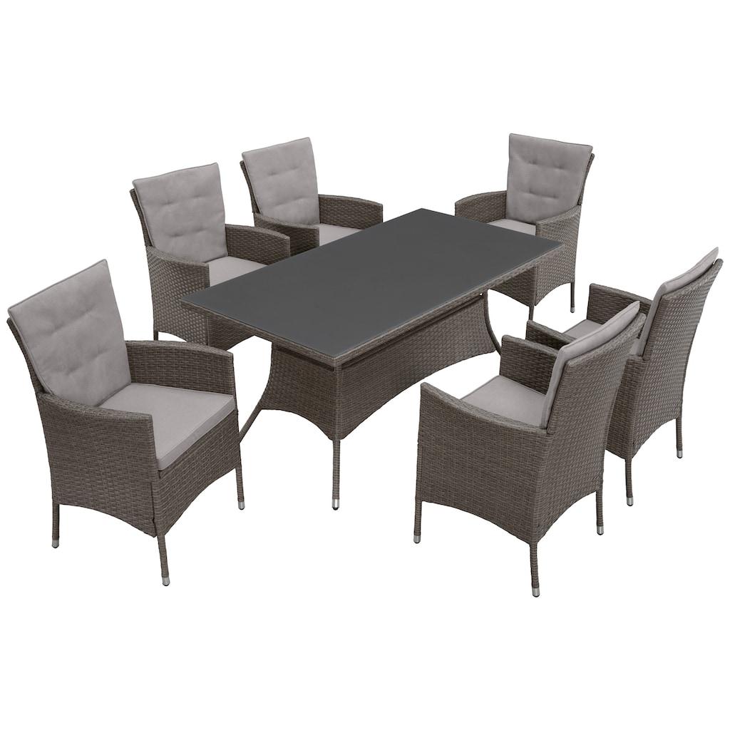 KONIFERA Gartenmöbelset »Mailand«, (19 tlg.), 6 Sessel, Tisch 15x8 cm, Polyrattan