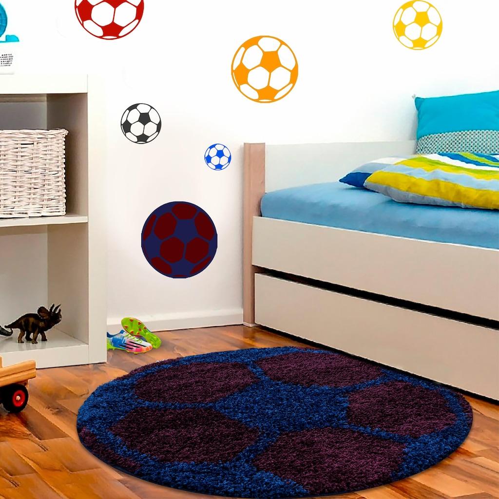Ayyildiz Kinderteppich »Fun 6001«, rund, 30 mm Höhe, Fussball Design