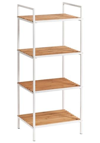 ZELLER Regal »Standregal«, 4 Böden, Bamboo/Metall weiss kaufen
