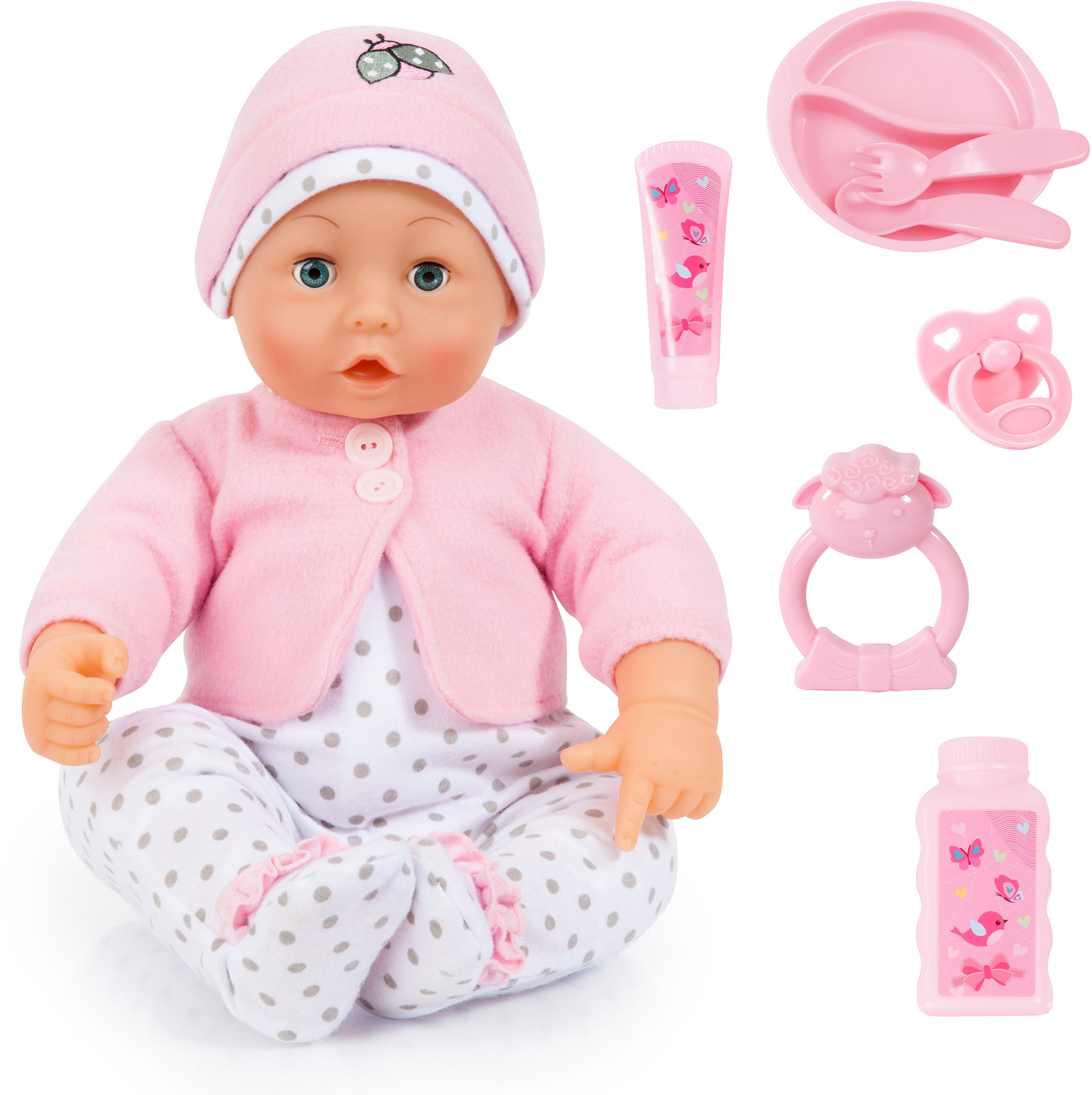 "Image of Bayer Babypuppe ""Baby Lisa rosa/weiss"" (Set, 8-tlg.)"
