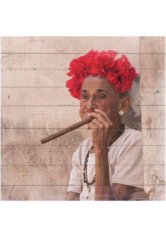 Home affaire Holzbild »Havanna Lady mit Kopfschmuck« kaufen