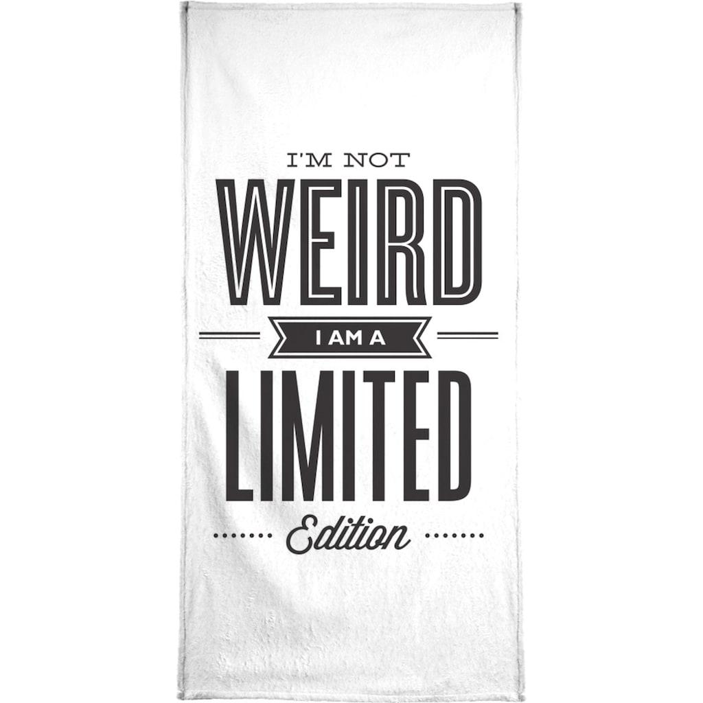 Juniqe Handtuch »I'm Not Weird«, (1 St.), Weiche Frottee-Veloursqualität