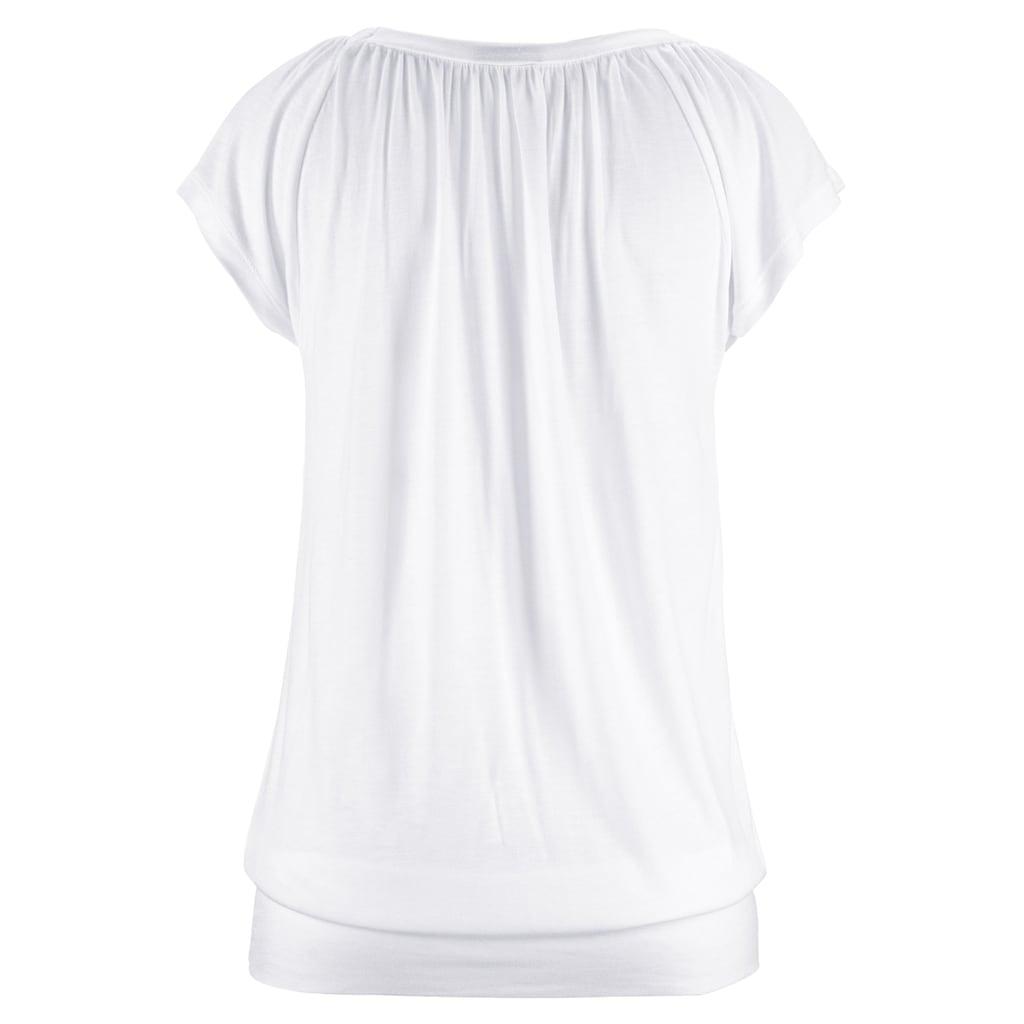 LASCANA V-Shirt, mit breitem Gummizugbund