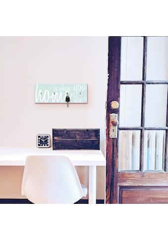 Artland Schlüsselbrett »Zuhause ist, wo Du bist«, aus Holz mit 4 Schlüsselhaken –... kaufen