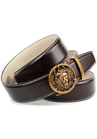 Anthoni Crown Ledergürtel, in dunkelbraun mit Kontrast Stitching in weiss kaufen