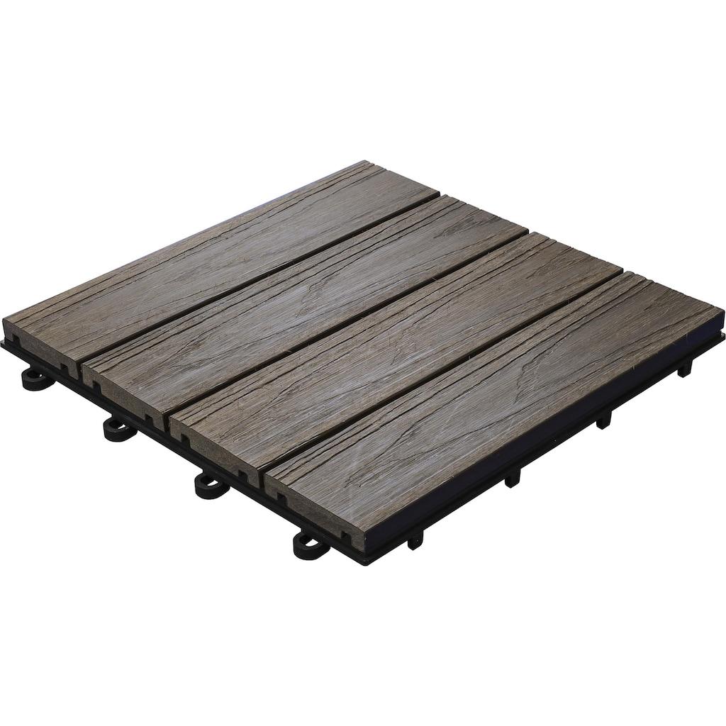 florco® Terrassenplatten »WPC 3D braun 30 x 30, 6 Stk.«