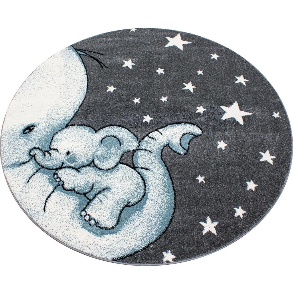 Ayyildiz Kinderteppich »Kids 560«, rund, 12 mm Höhe, Elefanten Baby Motiv, Kurzflor