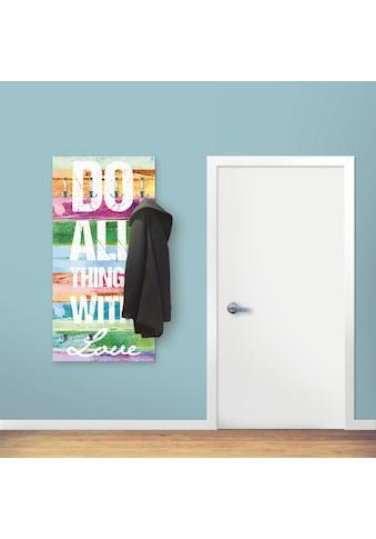 Artland Garderobe »Tu alles mit Liebe«, platzsparende Wandgarderobe aus Holz mit 6... kaufen