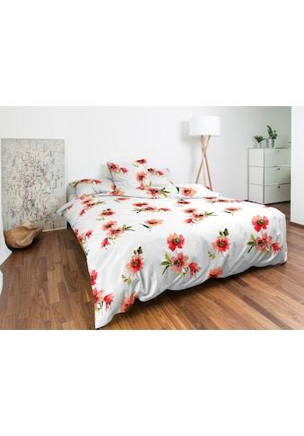 Nobilium Bettbezug »Hilla, Baumwoll-Jersey«, (1 St.), mit rot-orangefarbigen Blüten... kaufen