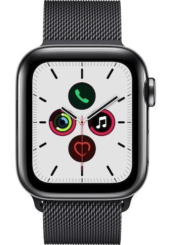 Watch Series 5 GPS + Cellular, Edelstahl space schwarz, 44 mm mit Milanaisearmband, Apple kaufen