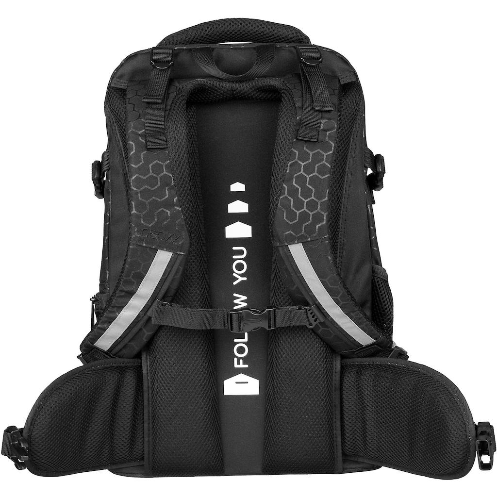 neoxx Schulrucksack »Active, Lost in black«, aus recycelten PET-Flaschen