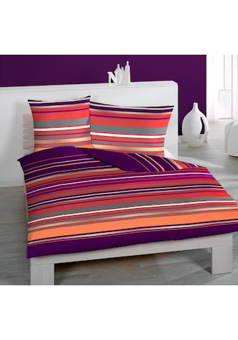 HOME FASHION Bettbezug »Streifen Quer«, (1 St.), verdeckter Reissverschluss kaufen