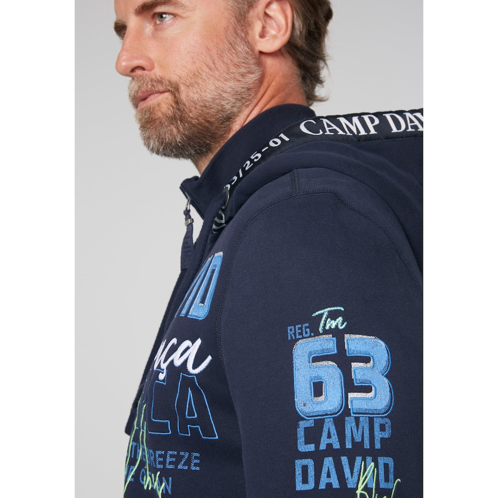 CAMP DAVID Kapuzensweatshirt, mit vielen Logoprints