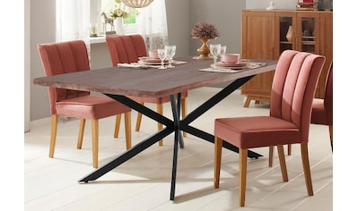 Home affaire Esstisch »Austin«, mit einem aussergewöhnlichen Beinuntergestell aus Metall und einer massivem Akazienholz Tischplatte kaufen