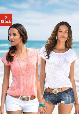 Beachtime T-Shirt, Ausbrenner-Qualität mit leicht transparenten Palmen kaufen