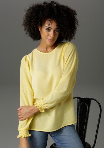 Aniston CASUAL Schlupfbluse, Chiffon-Ärmel mit eingewebten Punkten - NEUE KOLLEKTION kaufen