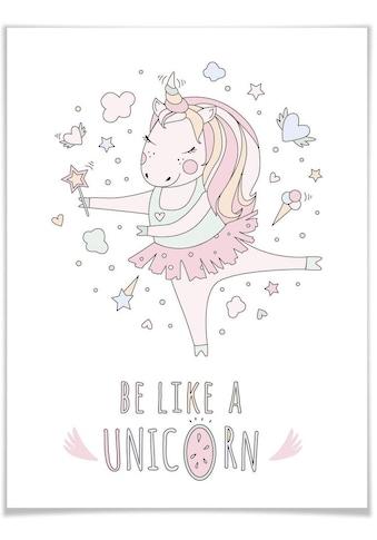 Wall-Art Poster »Kvilis Einhorn Ballerina Prinzessin«, Kinder, (1 St.), Poster, Wandbild, Bild, Wandposter kaufen