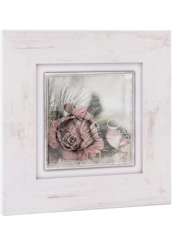 Home affaire Holzbild »Rosenblüte mit Schrift« kaufen