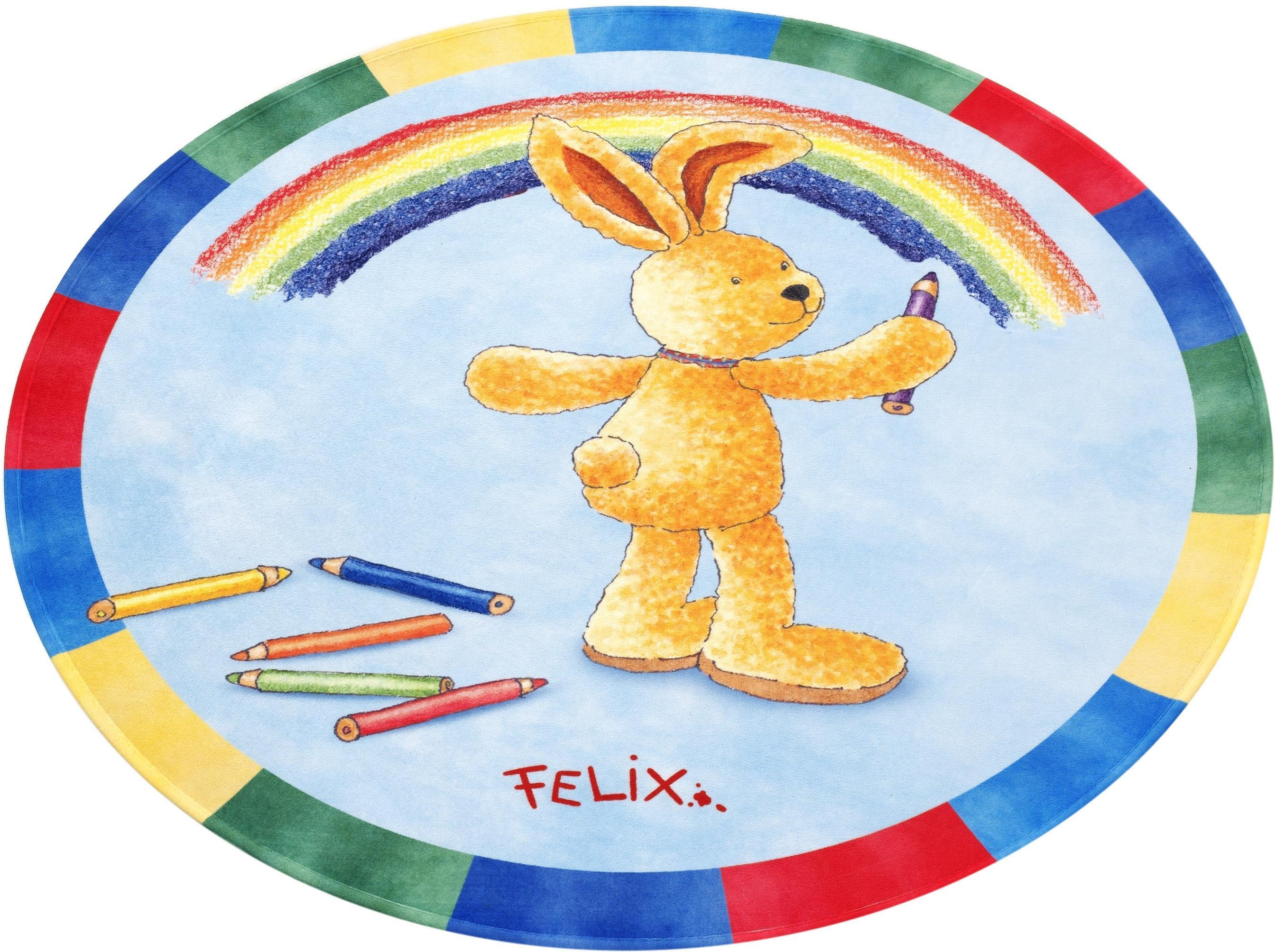 Image of Kinderteppich, »FE-412«, Felix der Hase, rund, Höhe 6 mm, gedruckt