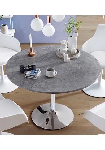 INOSIGN Esstisch »Trompet«, rund, Ø110 cm, Tischplatte weiss Hochglanz kaufen