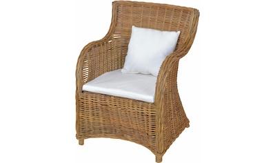 Home affaire Rattanstuhl, aus handgeflochtenem Rattan und grosser Sitzschale, Breite 62 cm kaufen