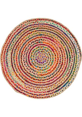 Barbara Becker Teppich »Ethno«, rund, 4 mm Höhe, Flachgewebe, handgeflochten, Ø ca. 80 cm, Material: Jute & recycelte Baumwolle, Wohnzimmer kaufen