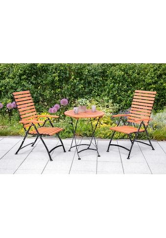 MERXX Gartenmöbelset , 3tlg., 2 Sessel, Tisch, klappbar, Eukalyptusholz kaufen